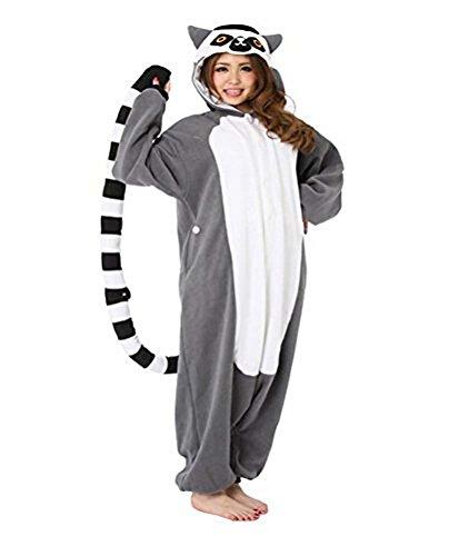 Halloween Weihnachten Ring Schwanz Lemur Tierkostüme Unisex Cosplay Pyjamas(M:160cm-169cm)