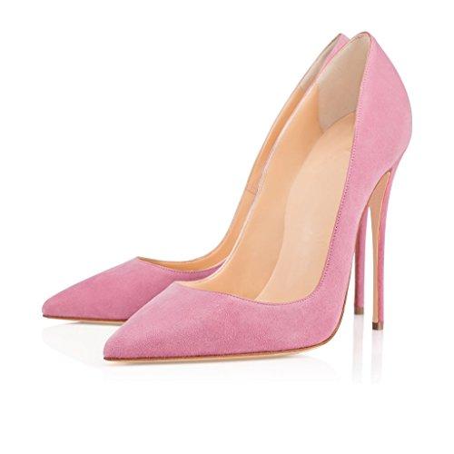 ELASHE - Femmes - Stiletto sexy - Classic talon haut- Cuir synthétique - Grande Taille - Haute couture - Talon aiguille 12CM - Bout pointu fermé Rose-Suede