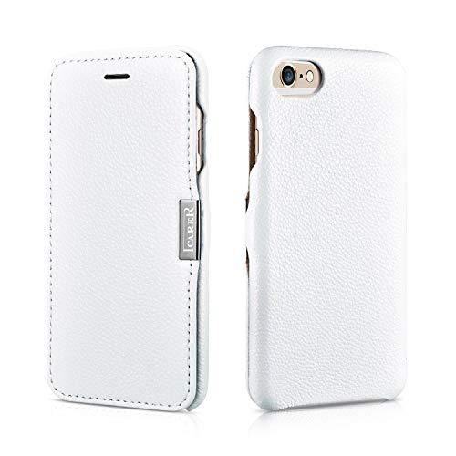 Luxus Tasche für Apple iPhone 6S und iPhone 6 (4.7 Zoll) / Case Außenseite aus Echt-Leder / Schutz-Hülle seitlich aufklappbar / ultra-slim Cover / Weiß