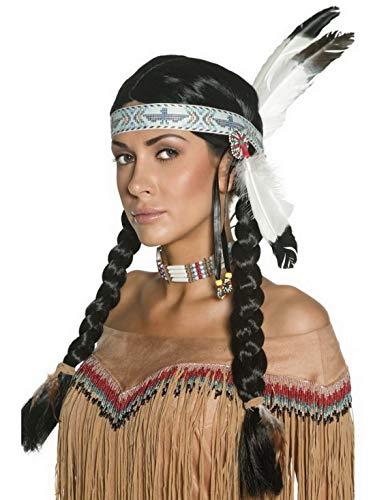 Confettery - Kostüm Accessoires Zubehör Damen Herren Langhaar Perücke Wig im Indianer Stil mit Stirnband und geflochtenen Zöpfen, perfekt für Karneval, Fasching und Fastnacht, ()