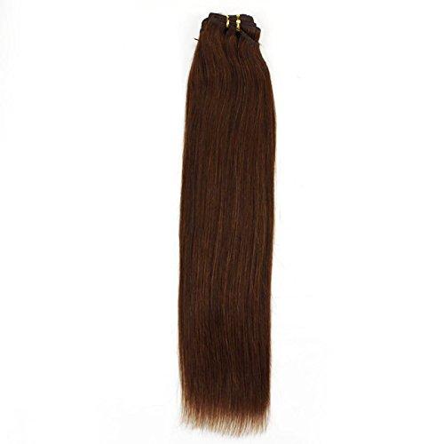 40,6 cm pouce (40 cm) 5 A droite cheveux non traités brésiliens vierges cheveux cheveux trame remy extension de cheveux droite cheveux européenne châtaignes # 6 marron