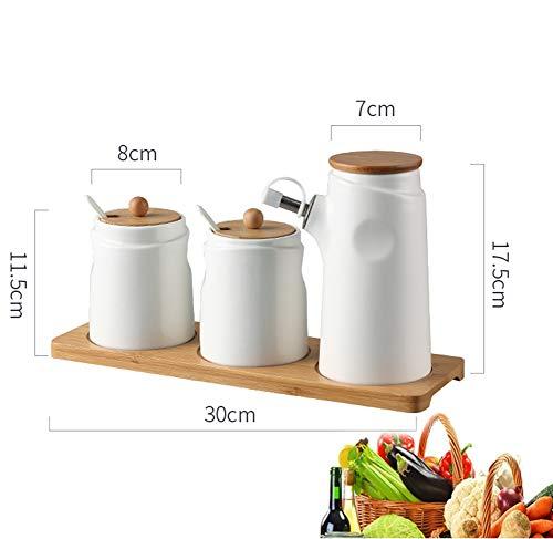 MAI&BAO Öl Flasche Keramik Öl Essig Spender Ölflasche küche Ölbehälter Gewürzpanzer Auslaufsicher Ausgießer Staubdicht Sauce Cruet Weiß, 400 ml,c - Mlc Tasche