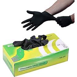 SHENG Tattoo-Nitril-Handschuhe, Ripstop-Einweg-Latex Schwarz Ohne Pulver, Strukturierte Fingerspitzen, Latexfreie Beauty-Tools 100/50 Paare/Box (größe : S)