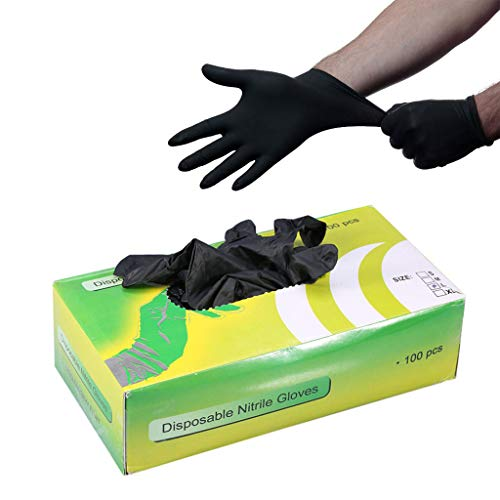 SHENG Tattoo-Nitril-Handschuhe, Ripstop-Einweg-Latex Schwarz Ohne Pulver, Strukturierte Fingerspitzen, Latexfreie Beauty-Tools 100/50 Paare/Box (größe : L)