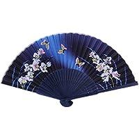 Demarkt Chino Japonés plegable de seda de la mariposa del azul y del ventilador plegable de bambú asiática de bolsillo de la flor del envío libre