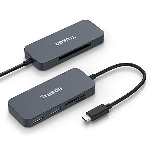 B C Hub 3.1 mit 2 USB 3.0 Anschlüsse,SD / Mikro SD /CF Kartenleser, tragbar für MacBook Pro 2015/2016/2017, Chromebook and andere Typ-C Geräten (Dual-cf-card-reader)
