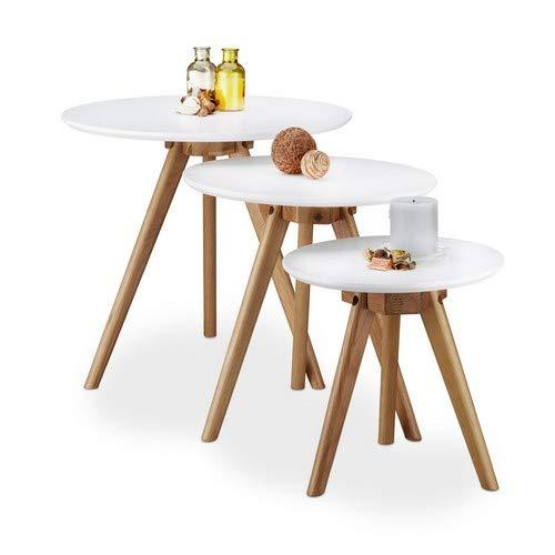 Relaxdays Table d'appoint Bois de chêne laqué Lot de 3 Table Basse 50, 40 et 32 cm Bout de canapé Table Console Plateau Blanc Design Nordique, Blanc Nature