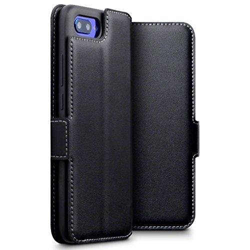 TERRAPIN, Kompatibel mit Huawei Honor 10 Hülle, ECHT Leder Börsen Tasche - Ultra Slim Fit - Betrachtungsstand - Kartenschlitze - Schwarz