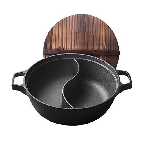 Zhangbangqiangshop Shabu Shabu Shabu Shabu Induktionsherd Gaskocher Mehrzweckpot Yin Yang Pot Shabu Shabu Gusseisen Hot Pot Haus 5-8 Man Pot (Color : Black, Size : 30CM)