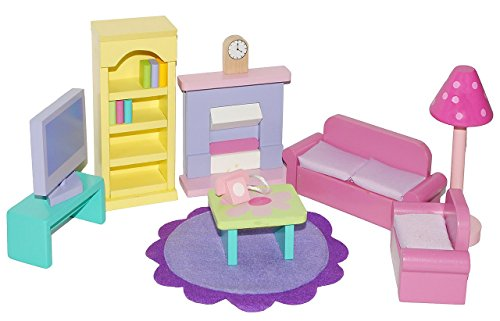 17 tlg. Set Wohnzimmer Holz mit Kamin + Telefon Regal - auch für Biegepuppen - Schrank Möbel Set - Maßstab 1:12 - Puppenstubenmöbel für Puppenstube / Puppenhaus - Puppenhausmöbel - Eßzimmer Büro