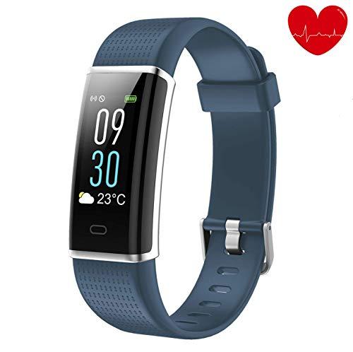 alwaiiz Fitness Tracker,Wasserdicht Fitness Armband Farbbildschirm Aktivitätstracker mit Pulsmesser Schrittzähler Schlaf-Monitor Fitness Uhr Sportuhr für Damen Herren Kinder(blaugrau)