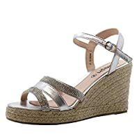 SAUTE STYLES Womens Ladies High Heel Ankle Strap Casual Espadrilles Platform Wedge Sandals Size 7 Silver