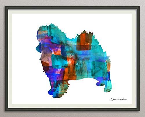 pomeranian Rasse Hunde Hunderasse Fine Art Print Aquarell Silhouette Profil Poster Kunstdruck Plakat modern ungerahmt DIN A 4 Deko Wand Bild -