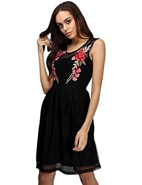Ouneed Las mujeres apliques florales de encaje vestido de fiesta casual sin mangas