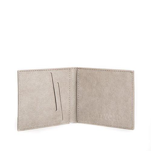 Kleiner dünner Geldbeutel Herren mit Münzfach von FRITZVOLD - Kleine Geldbörse, Slim Wallet, extrem flaches Portmonee in braun für Damen und Herren Grau mit Münzfach