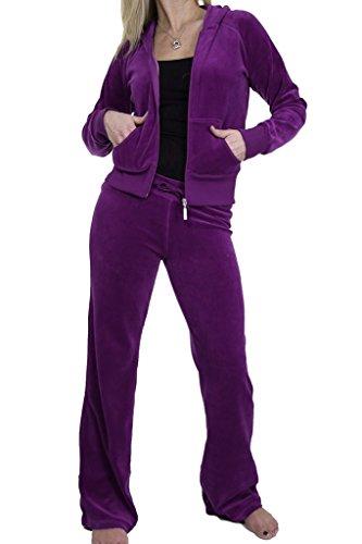 ICE (6327) Survêtement à Capuche en Velours pour Femmes Violet