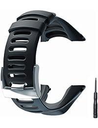 JTMM Bracelet de Montre, Doux en Caoutchouc Noir de Remplacement Bracelet de Montre avec Outil Gratuit pour Suunto Ambit 3 Peak/Ambit 2/1