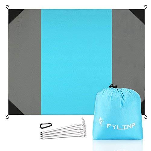 Picknickdecke mit Tasche Faltbar Stranddecke und Strandmatte Schnell Trocknende Extra Großes 270x210 cm Wasserdichte Campingdecke für Outdoor am Strand mit 4 Pfosten Fuß -