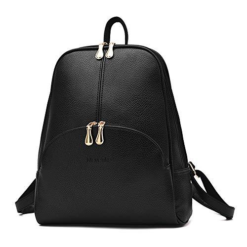 Nevenka Zaino Donna Borsa a Spalla in Pelle PU Zainetto Casual Borsa a Mano Backpack alla Moda per Shopping Scuola Viaggio Vacanza (nero)