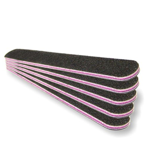 Profi Nagelfeile Schwarz 100/180 Kernfarbe pink/rot - 5er Pack