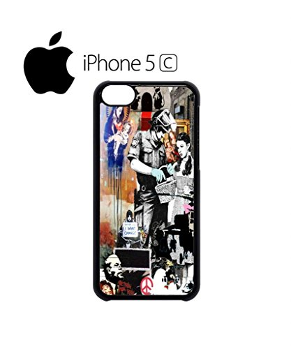 Banksy Street Art Graffiti Mobile Cell Phone Case Cover iPhone 5c Black Schwarz