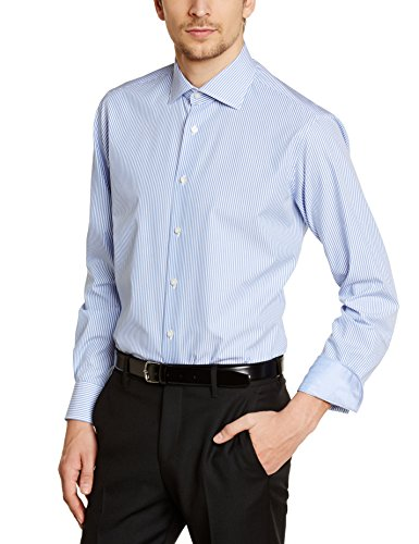 Tommy Hilfiger Tailored Herren Regular Fit Smoking Hemd JAK SHTSTP99002 Blau (415)