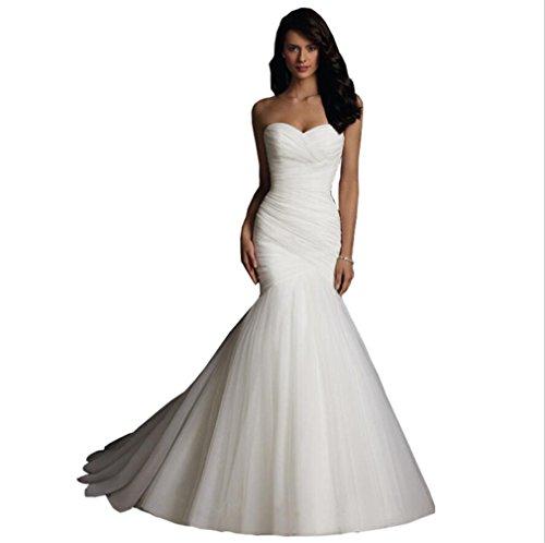 LUCKY-U Frau Hochzeitskleid, Nicht-Ärmel Mermaid Design Niedlich Elegante A-Linie Brautkleid,Us12