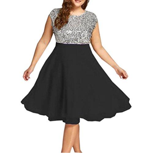 übergröße Kleider Kolylong Damen Elegant Pailletten Ärmellose Kleid -