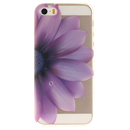 iphone 5 / 5S / SE Hülle,iphone 5 / 5S / SE Case,iphone 5 / 5S / SE Silikon Hülle [Kratzfeste, Scratch-Resistant], Cozy Hut iphone 5 / 5S / SE Hülle TPU Case Schutzhülle Silikon Crystal Kirstall Clear Die Hälfte Blume
