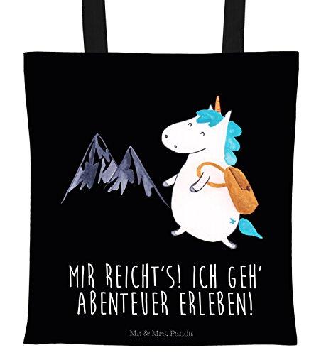 Bergsteiger-tasche (Mr. & Mrs. Panda Tragetasche Einhorn Bergsteiger - 100% handmade in Norddeutschland - Abenteurer, Einkaufstasche, bedruckt, Tasche, Beutel, Abenteuer, Motiv, Berge, Reisen, Jutebeutel, Einhorn, Entdecker)