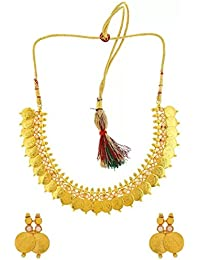Bhagya Lakshmi Traditional Pearl Temple Coin Necklace Set With Earrings For Women