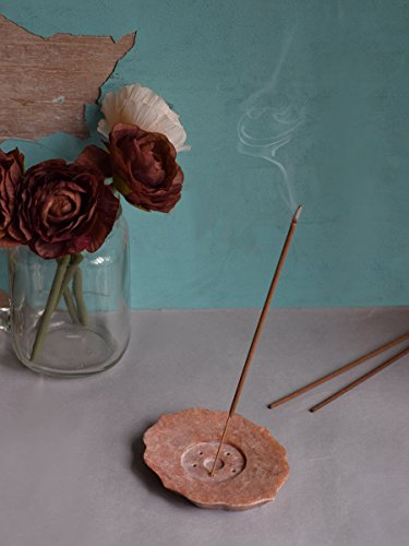 Store Indya Natural Hand Carved Peach Soapstone Incense Stick / Cone Holder / Ash Catcher Home Fragrance Accessories With Leaf Design  available at amazon for Rs.159