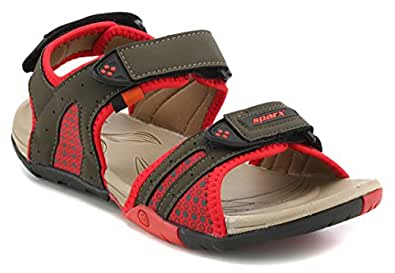 Sparx Women's Olive and Red Sandals and Floaters- 4 UK (SS0443L)