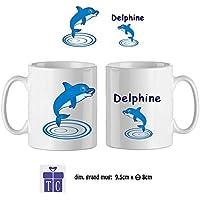 Texti-cadeaux-Mug Dauphin-personnalisé avec un prénom exemple Delphine