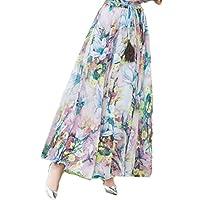 GAGA Women Bohemian-Style Printing Chiffon Maxi Plus-Size Flyaway Skirts 3 L