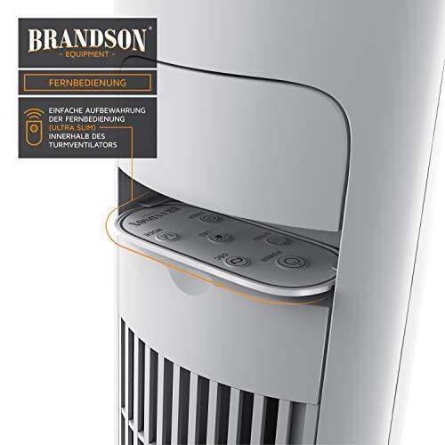 Brandson – Turmventilator mit Fernbedienung 108 cm   Ventilator 10° neigbar   Standventilator mit Oszilation   65° oszillierend   3 Geschwindigkeiten 4 Lüftungs-Modi Timer   GS   Polarweiß Bild 3*