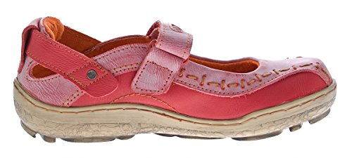 Damen Leder Ballerina Schuhe TMA EYES 1601 Sandalen viele Farben Zeitungsdruck Gr 36-42 Rot