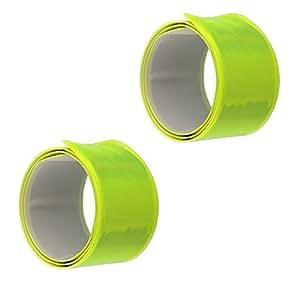 2 x Reflektorbänder Gelb Sicherheit für Schulweg Fahrrad Kinder Taschen