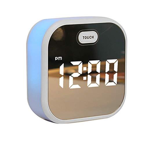 1-1 Sprachaktivierter Wecker, Ewiger Multifunktionskalender Am Bett Stille Bunte Elektronische Uhr Student-White,Blue
