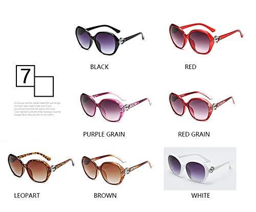 LIJINCHENG-Sunglass Big Frame Sonnenbrillen Fashion UV-Schutz Sonnenbrillen Street für Frauen Trend Metal Big Frame Sonnenbrillen (Lenses Color : Red Grain)