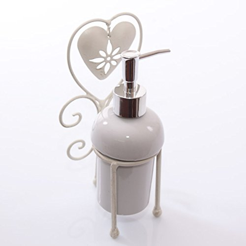 DiKasa Home Dispenser Sapone Cuore Shabby, Metallo, Bianco, 12x10x22 cm