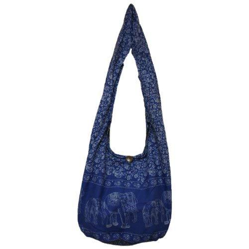 ThaiUK - Bolso al hombro para mujer Dark Blue White Large