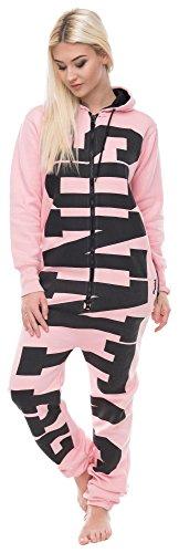 Loomiloo Jumpsuit Freizeitanzug Overall Hausanzug Einteiler Strampler Anzug Pyjama Sonntag Rosa L