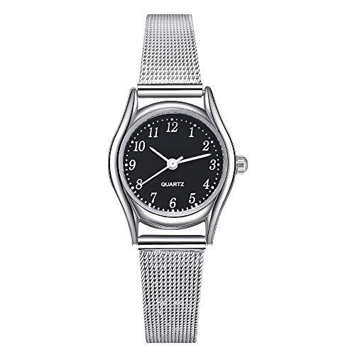 Relojes Pulsera Delgada Pequeño Clásico Plata Analógico Relojes Mujer Malla Acero Inoxidable Sencillo, Negro
