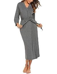 HOTOUCH Damen Morgenmantel Bademantel Nachtwäsche Kimono Saunamantel mit Tiefer V-Ausschnitt Schlafanzug aus Baumwolle