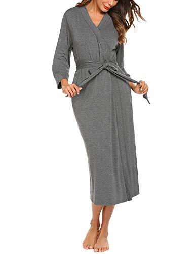 Unibelle vestaglia e kimono lungo donna manica a 3/4 scollo a v accappatoio con 3 tasche nightdress grigio