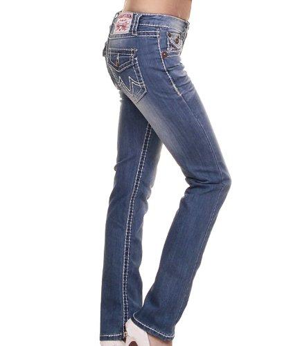 Jeans mit dicker Naht im Five Pocket Style Designer Low Cut Jeans