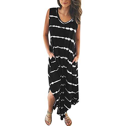 Surplice T-shirt Kleid (Saihui_Women Dress Damen Sommer Maxikleid Casual V-Ausschnitt lose Seitentaschen Ärmellos Tank T-Shirt Lange Kleider Split Saum Tie Dye Party Strand Sonnkleid)