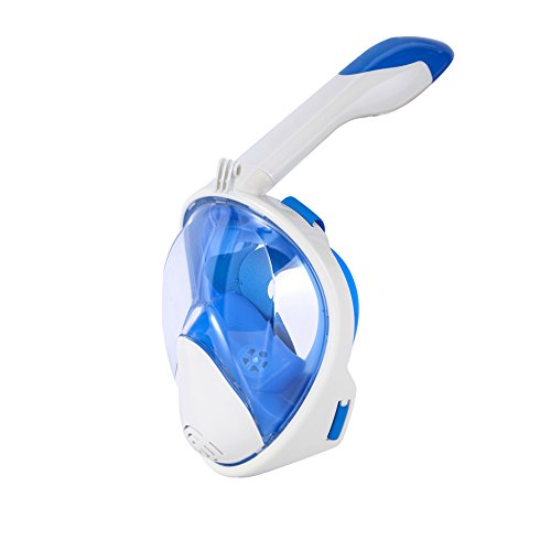 Masque-tuba de plongée intégral, Masque de surface antibuée et antifuite pour débutants et amateurs de plongée, weiß und blau, S/M