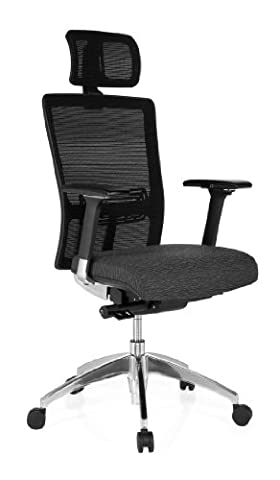 hjh OFFICE, 657504, Professional office chair, swivel chair, executive chair, ASTRA LUX, greybrown, fabric, mesh, High ergonomic shaped mesh backrest, breathable, adjustable headrest, thick padded and wide contoured seat, adjustable armrests, adjustable seat